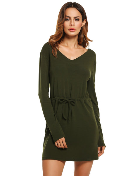 Women V-Neck Long Sleeve Solid Straight Short Casual Dresses