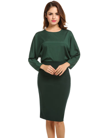 Dark green New Women Casual O-Neck Long Batwing Sleeve Package Hip Back Hollow Out Work Dresses