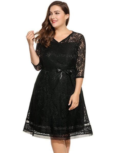 White New Women Casual V-Neck Three Quarter Sleeve Lace Pleated Hollow Out Mesh Patchwork Hem Plus Size Dress with Lining