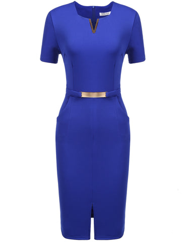 Blue Business Metal Decorations Front Split Elastic Work Dress