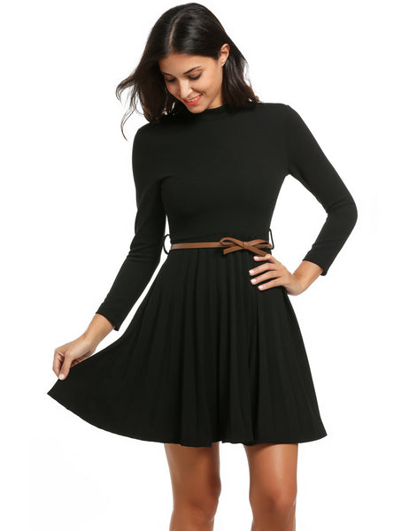 Women Stand Collar Long Sleeve Fit and Flare Mini Pleated with Belt Party Dresses