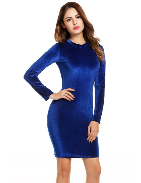 Blue Long Sleeve Bodycon Evening Cocktail Party Going Out Dress