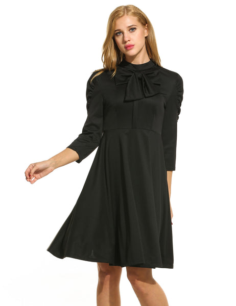 Women Stand Collar Pleated Sleeve Bowknot Solid Dress