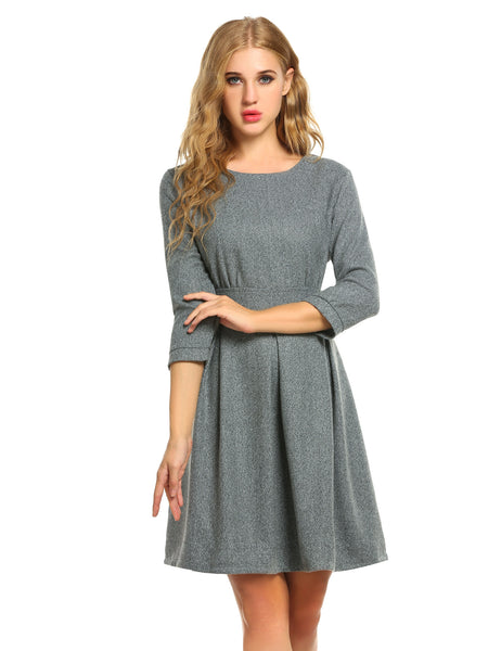 New Women Casual O-Neck 3/4 Sleeve Fashion High Waist Slim Work Dresses