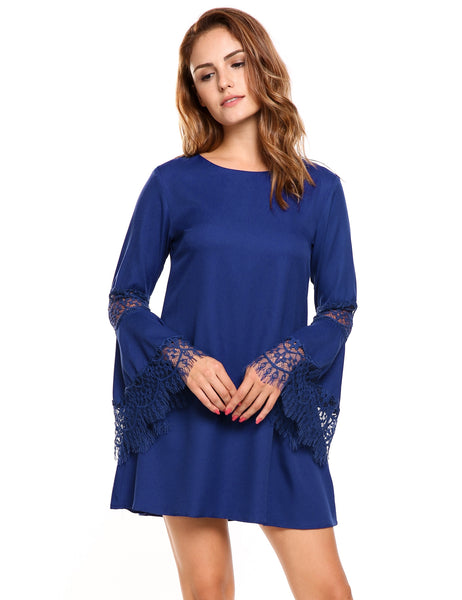 Lace Flare Sleeve Loose A-Line Tunic Dress