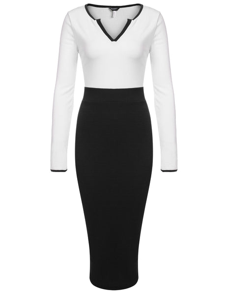 Black Women Notch Neck Long Sleeve High Waist Contrast Color Patchwork Ribbed Pencil Going Out Dresses