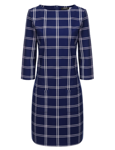 Dark blue New Women O-Neck Three Quarter Sleeve Plaid Casual Work Dresses
