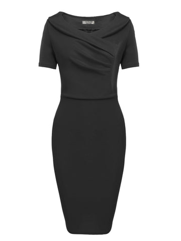 Black Vintage Style Ruched Party Cocktail Slim Work Dress