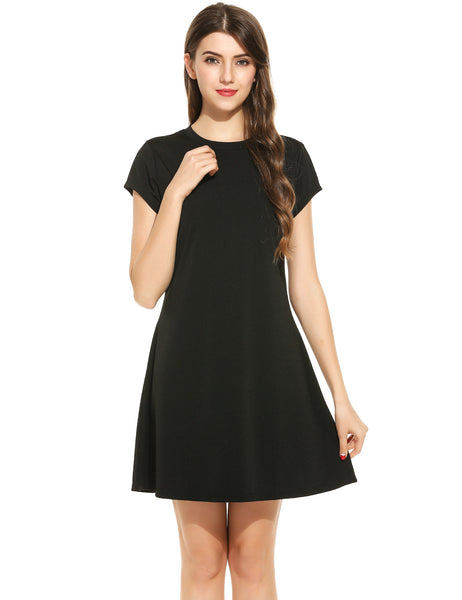 O-Neck Short Sleeve Solid Pleated Elastic Swing Casual Dress