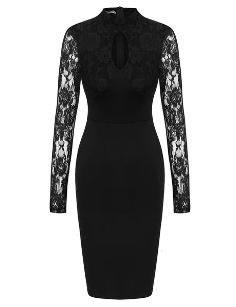 Stand Collar Lace Long Sleeve Bodycon Going Out Dress