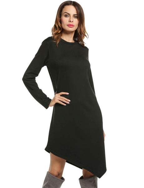 O-Neck Long Sleeve Asymmetrical Hem A-Line Dress