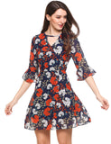 Navy Blue V-Neck Three Quarter Flare Sleeve Tunic Prints A-Line Casual Dress with Lining