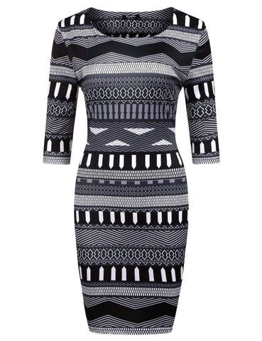 2017 New 3/4 Sleeve Geometric Print Short Dress
