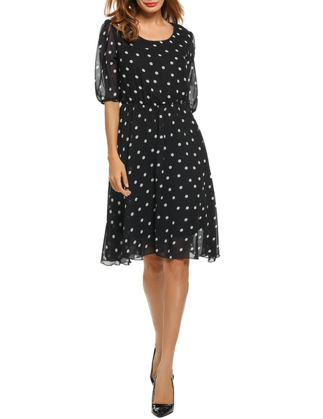 Half Sleeve Polka Dots Chiffon Pleated Dress