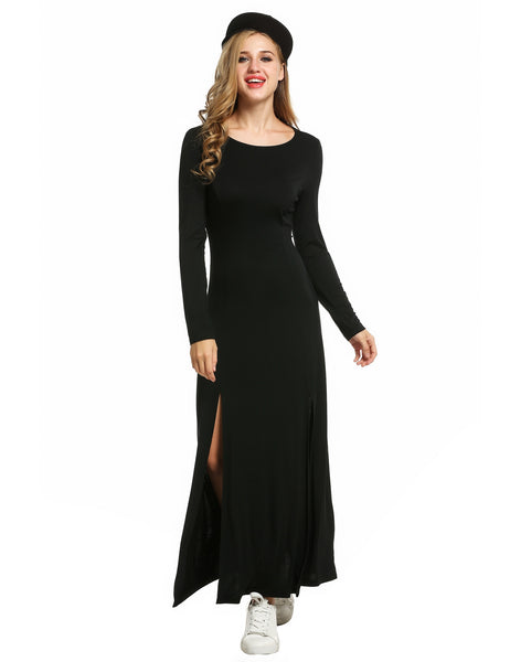 Black Women O-Neck Long Sleeve Backless Solid Slit Slim Maxi Casual Dresses