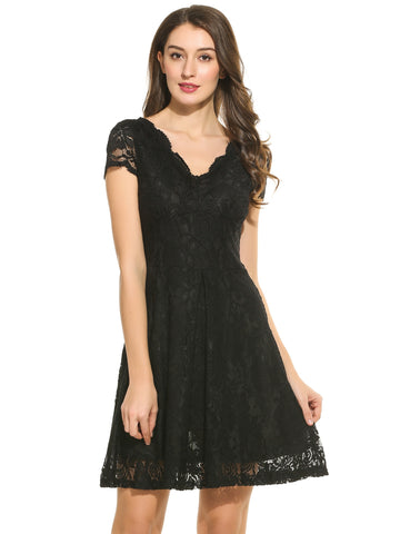 Women Casual Short Sleeve Floral Lace V Neck Swing Dress
