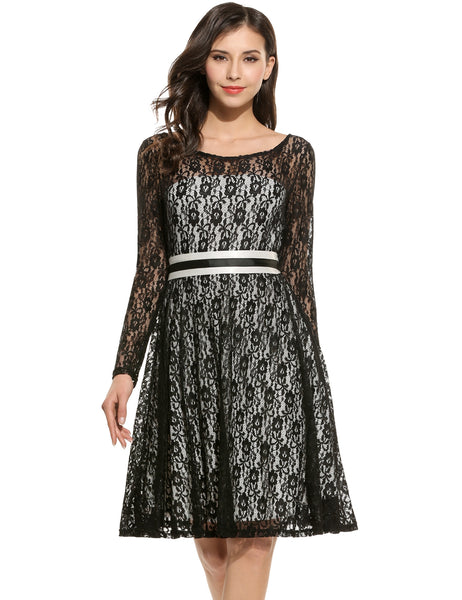 Black Long Sleeve Floral O Neck Back Deep V Lace Belted Party Dress