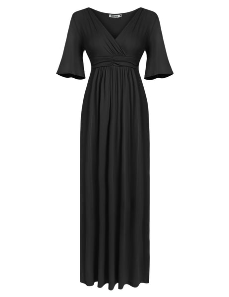 Red Women's V-Neck Cold Shoulder Flare Sleeve Solid Pleated Evening Party Long Maxi Casual Dresses