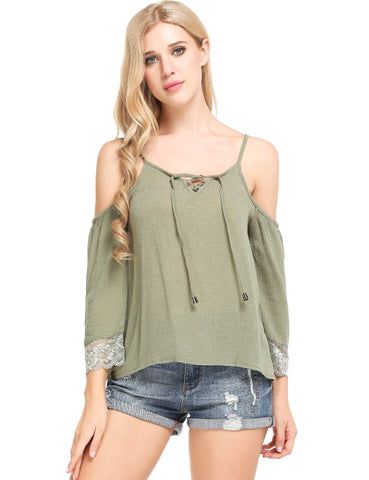 Army green Lace-up V-Neck Cold Shoulder Lace Patchwork T-Shirt