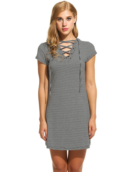 New Women V-Neck Lace-up Short Sleeve Striped Casual Dresses