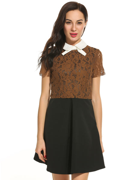Women Casual Short Sleeve Patchwork Bowknot Collar Lace Elegant Dress