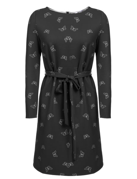 New Women Casual O-Neck Long Sleeve Butterfly Printing Dress with Belt