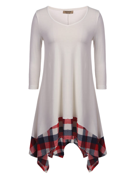 Women 3/4 Sleeve O Neck Patchwork Plaid Hem Loose Pullover Casual Dresses