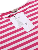 Black Women O-Neck Short Sleeve Striped Summer Casual Flared A-Line Dress