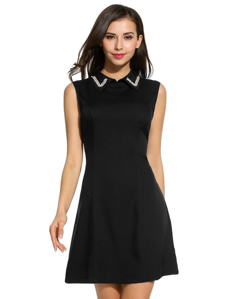 White Women Doll False Pearl Collar Sleeveless A-Line Solid Slim Mini Casual Dresses