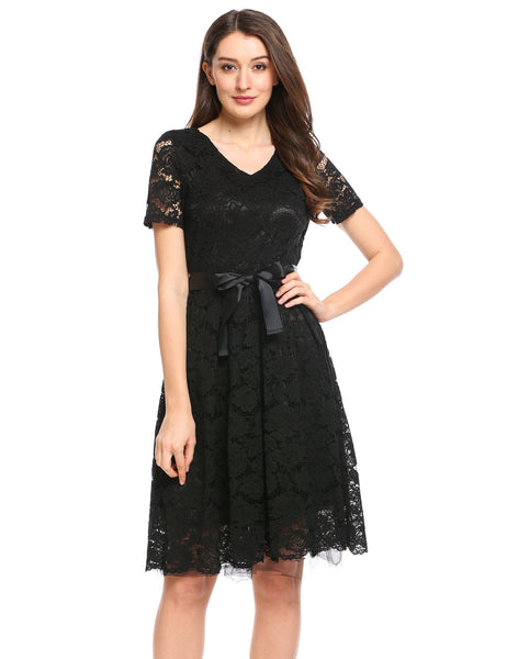Belted Fit and Flare Lace A-Line Dress