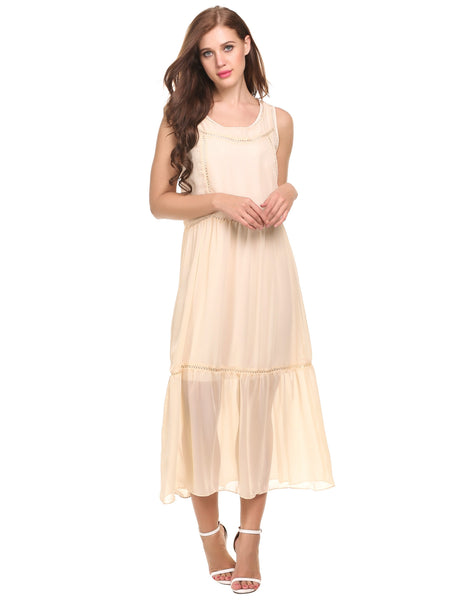 Apricot Bohemian Sleeveless Crochet Chiffon Maxi Casual Dress