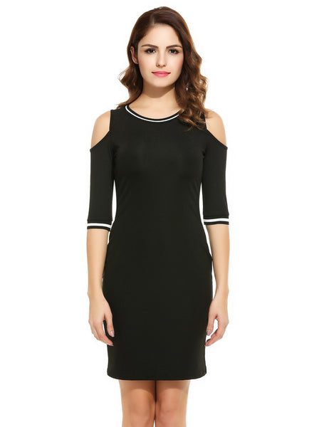 Women O-Neck Half Sleeve Cold Shoulder Bodycon Party Dress