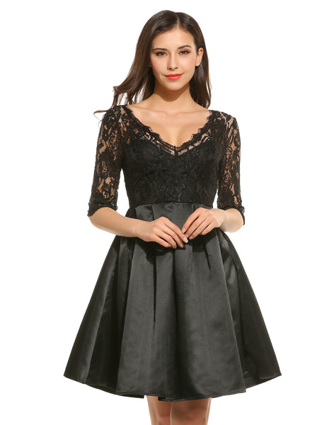 Black New Women Casual V-Neck Half Sleeve Floral Lace Pleated Dress