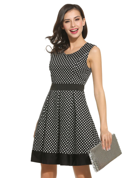 Women O-Neck Sleeveless Polka Dot Patchwork Pleated Casual Dresses