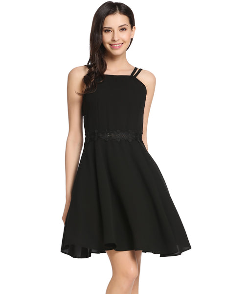 Black Lace Patchwork Square Neck Backless Spaghetti Strap Going Out Dress