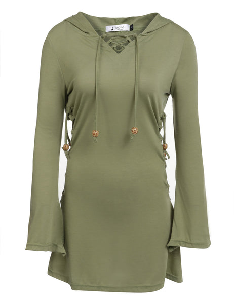 Army green V-Neck Long Sleeve Solid Lace Up Hoodie Mini Dress