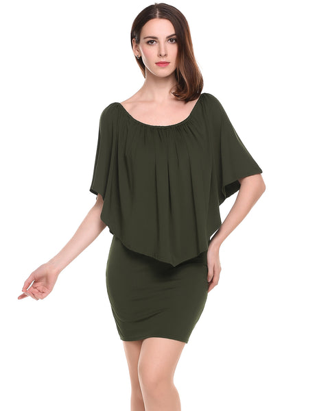 Army green Off the Shoulder Solid Ruffle Bodycon Mini Dress