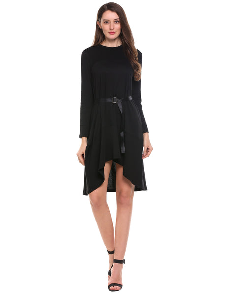 Black Asymmetrical Patchwork Long Sleeve Belted A-Line Dress