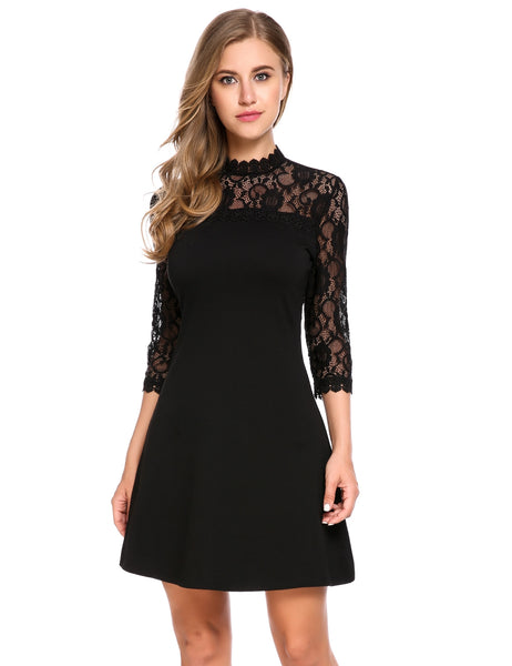 Red 3/4 Sleeve Lace Patchwork Cocktail A-Line Going Out Dress