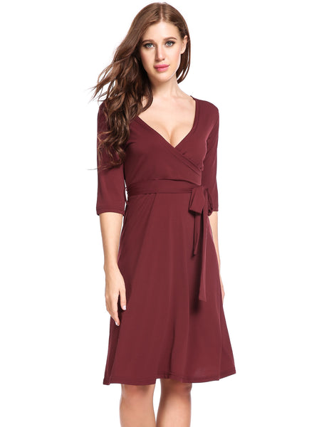Black Cross V-Neck Half Sleeve Solid Elastic Going Out Dress