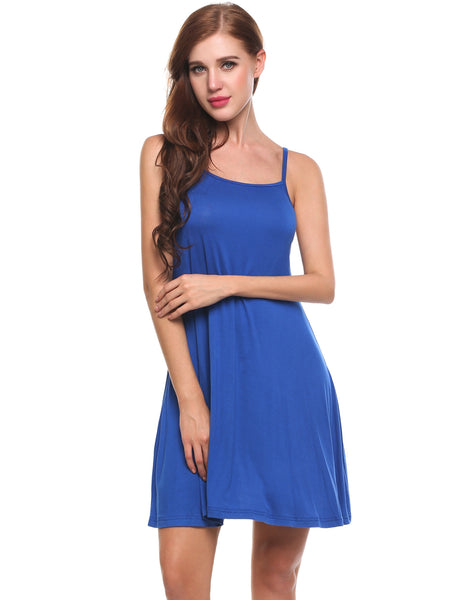 Blue Square Collar Solid Back V Neck Cross-Strap Pleated Hem Casual Dress