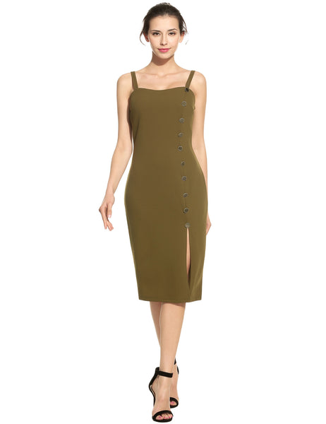 Army green Elegant Dual Strap Front Button Side Slit Solid Pencil Dress