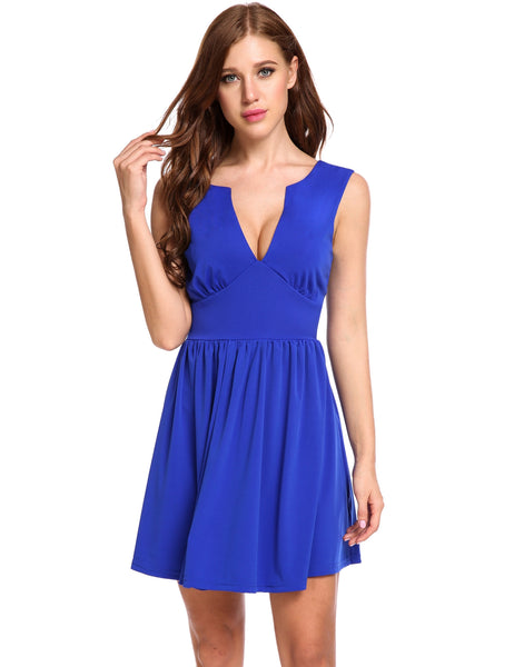 Blue Sleeveless Double Deep V Neck Elastic Back Zip A-Line Pleated Hem Dress
