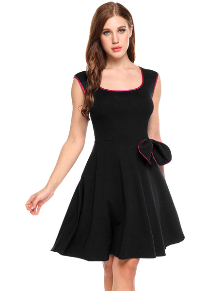 Navy blue O-Neck Sleeveless Contrast Color Elastic A-Line Party Dress