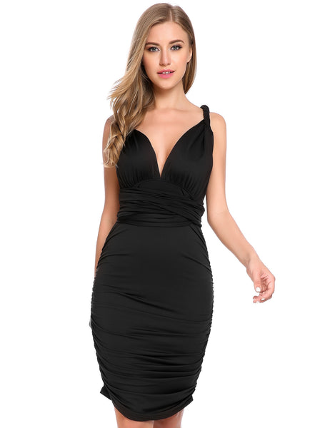 Black Bandage Club Solid Slim Bodycon Pencil Party Dress
