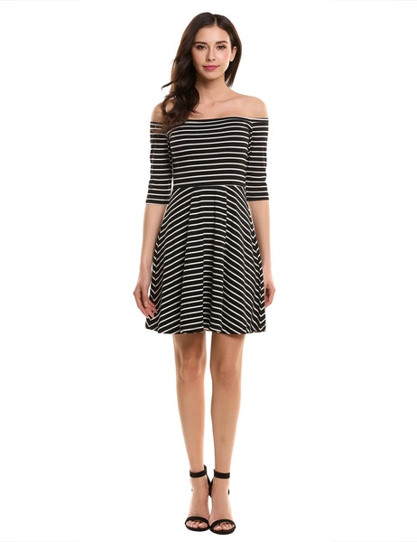 Women's Off the Shoulder 3/4 Sleeve Striped Casual Pleated Dress