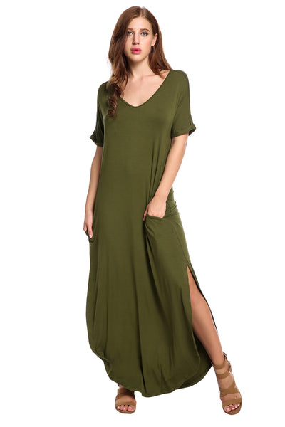 Army green V-Neck Short Cuffed Sleeve Solid Elastic Side Split Knit Casual Dress