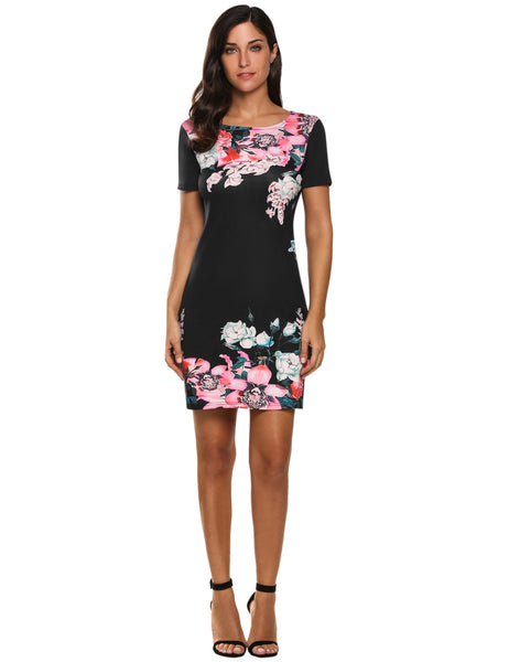 Floral Print Short Sleeve Slim Fit Casual Dress