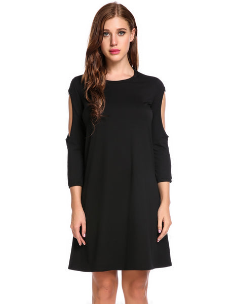 Black Cold Shoulder 3/4 Sleeve Loose Fit Tunic Casual Dress