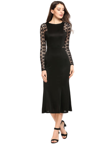 Black Floral Lace Patchwork Long Sleeve Evening Dress